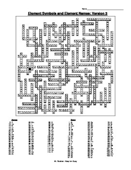 Element Crossword Puzzle (6 versions!) w/ Names and Symbols and Answer Key