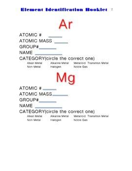 Element Identification Booklet Plus Quiz