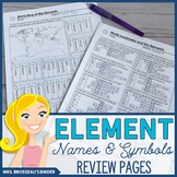 Element Names and Symbols Puzzle Review - Editable!