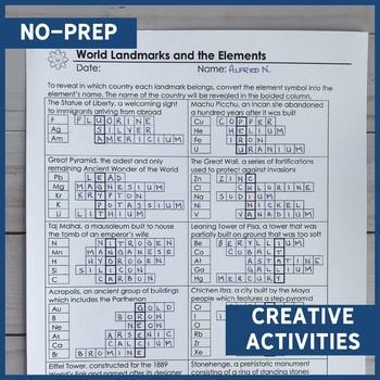 Element Names and Symbols Puzzle Review - Editable!