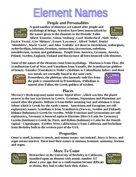 Element Names and the Element Naming Process