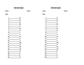 Element Quiz(zes)