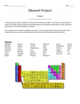 Element Research Project and Atomic Model Building