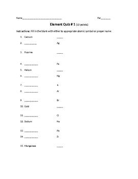 Element Symbol Quiz Middle School