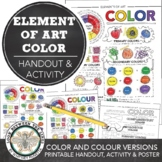 Element of Art (Color) Worksheet: Middle School, High School Visual Art Activity