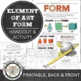 Form Elements of Art Printable Worksheet: Middle School Art, High School Art