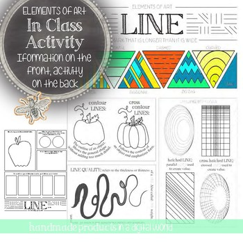 Line, Elements of Art Printable Worksheet: Elementary, Middle, High School  Art