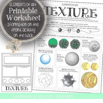 Element Of Art Texture Worksheet Visual Art In Class Activity Tpt