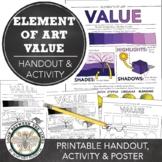 Element of Art (Value) Worksheet: Middle School or High School Art Activity