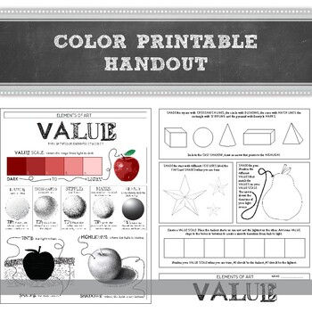 Element of Art Value Worksheet: Elementary, Middle, and High School Art