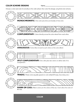 Color Scheme Worksheet - Color Theory, Analogous, Complementary, etc.