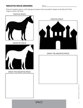 Element of Space - Free Negative Space Drawing Activity Worksheets