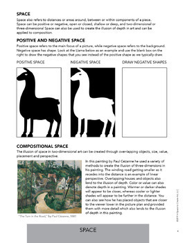 elements of art worksheets space composition by a space to create art. Black Bedroom Furniture Sets. Home Design Ideas