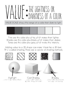 Element of art: Value Printable