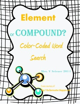 Element or Compound? Color-Coded Word Search