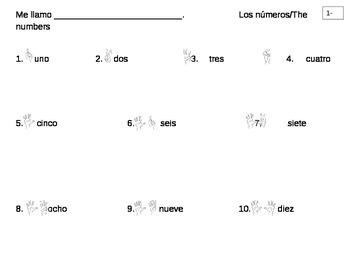 Elementary 1-10 Spanish Worksheet