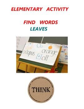 Elementary Activity - Find Words - Leaves - Grade 1 Grade 2 Grade 3
