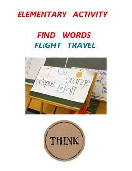 Elementary  Activity - Find  words - Flight Travel - Grade 1 Grade 2 Grade 3