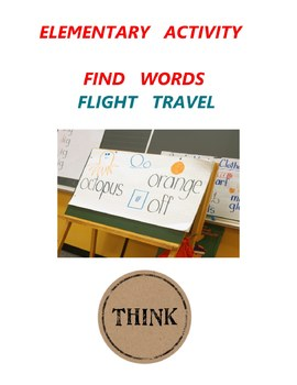 Elementary  Activity - Find  words - Flight Travel - Grade