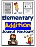 Elementary Addition Journal Handouts