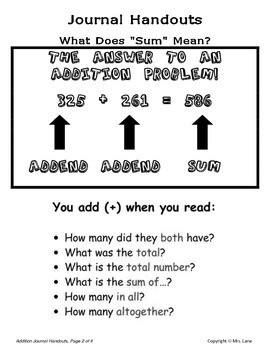 Elementary Addition Journal Handouts