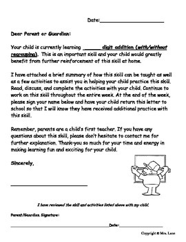 Elementary Addition Parent Handouts (Help At Home)