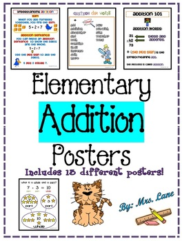 Elementary Addition Posters (Includes 13 Different Posters!)