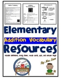 Elementary Addition Vocabulary Resources