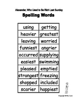 """Elementary """"Alexander, Who Used to Be Rich Last Sunday"""" Spelling Resources"""