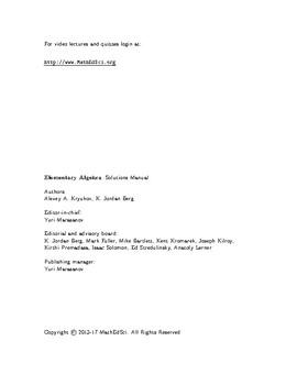 Elementary Algebra: Solutions Manual—Alexey A. Kryukov