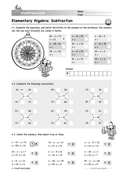 Elementary Algebra: Subtraction
