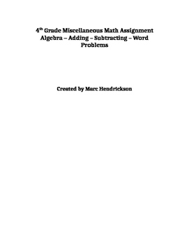 Elementary Algebra-adding-subtacting-word problems