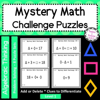 Mystery Number Puzzles - Level 1- Task Cards - Beginning of Year Team Fun!