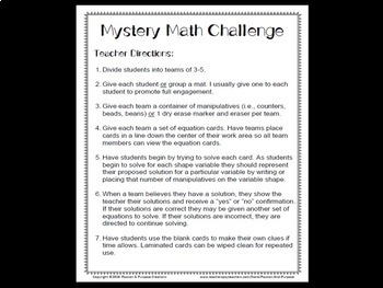 Mystery Number Puzzles - Beginning-of-Year Collaborative Problem Solving Fun!