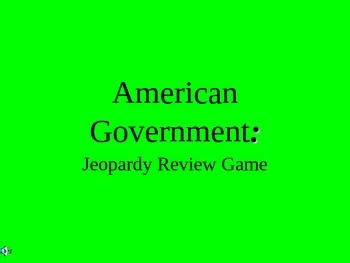 Elementary American Government Review Game