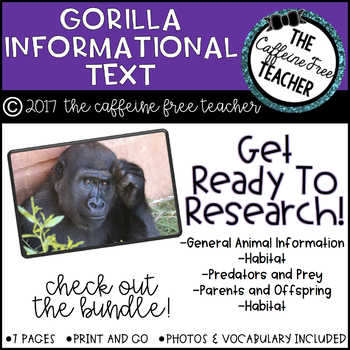 Elementary Animal Research Information- Gorilla!