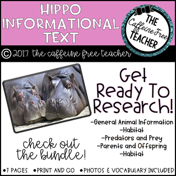 Elementary Animal Research Information- Hippo!