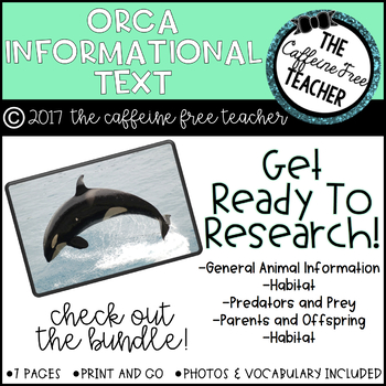 Elementary Animal Research Informational Text- Orcas!
