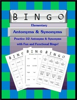 Elementary Antonyms and Synonyms Bingo