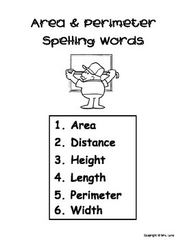 Elementary Area & Perimeter Spelling Resources