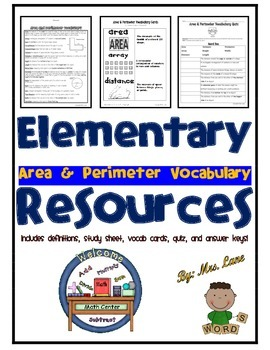 Elementary Area and Perimeter Vocabulary Resources