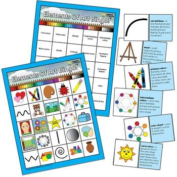 Elements of Art Elementary Visual Art BINGO Education Resources Double Sided