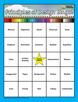 Principles of Design Elementary Visual Art BINGO Double Sided Pictures & Words