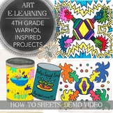 Elementary Art Distance Learning, Andy Warhol Inspired Art Pack: School Closures