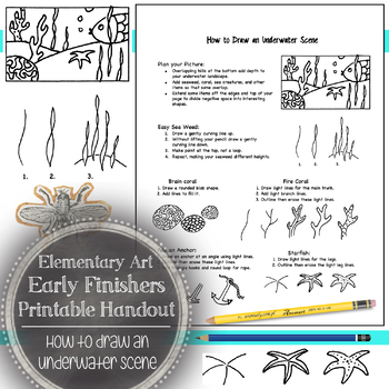 Elementary Art Early Finishers Handout: How to Draw an Underwater Scene