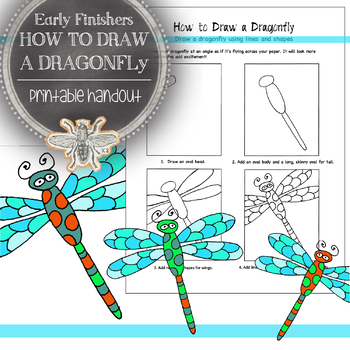 Elementary Art, Early Finishers Printable Handout: How to Draw a Dragonfly
