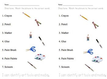 Elementary Art Education Identify Art Tools and Medai