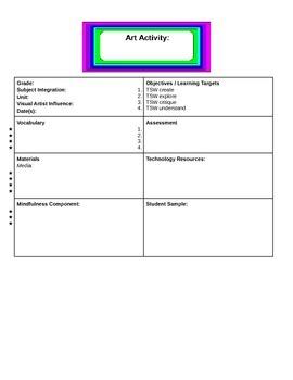 Elementary Art Interdisplinary Lesson Plan Template
