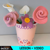 Elementary Art Lesson. 3D Georgia O'Keefe Flowers