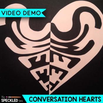 Elementary Art Lesson. Notan Conversation Hearts. Positive Negative Space.